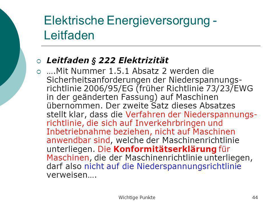 Elektrische Energieversorgung - Leitfaden