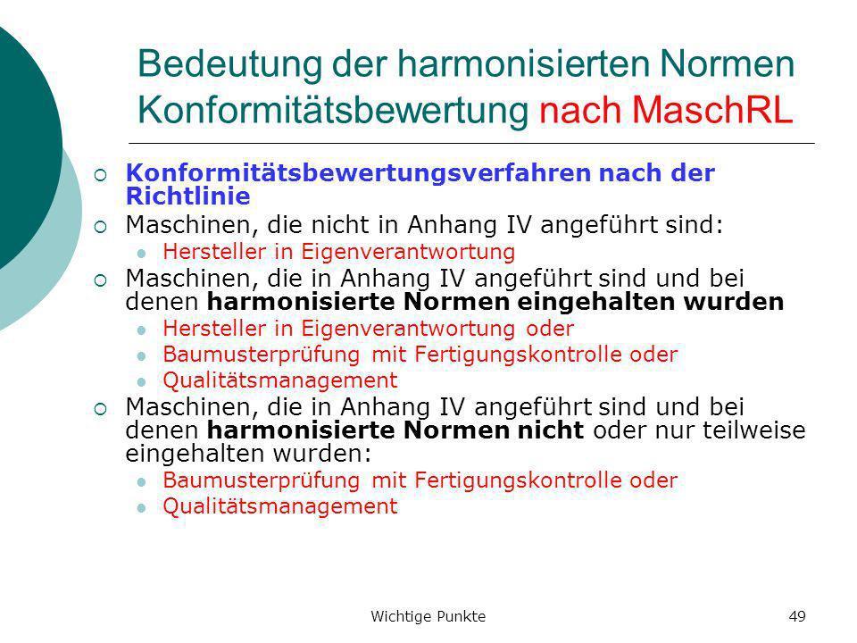 Bedeutung der harmonisierten Normen Konformitätsbewertung nach MaschRL