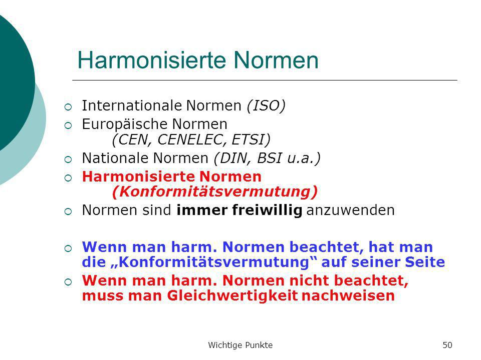 Harmonisierte Normen Internationale Normen (ISO)