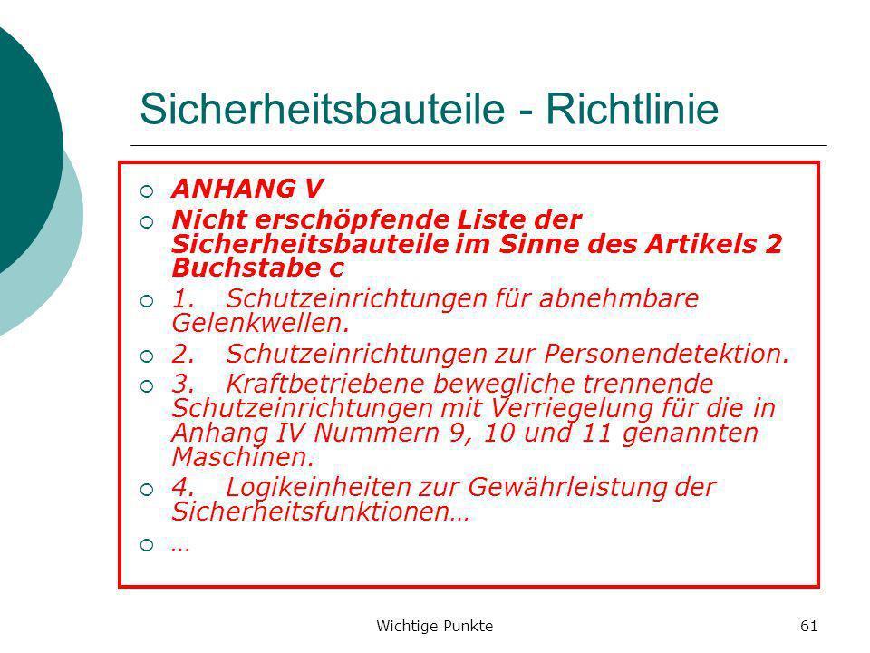 Sicherheitsbauteile - Richtlinie