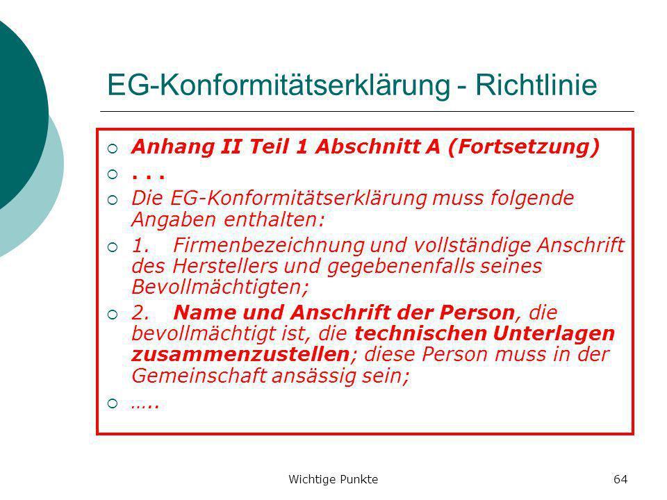 EG-Konformitätserklärung - Richtlinie