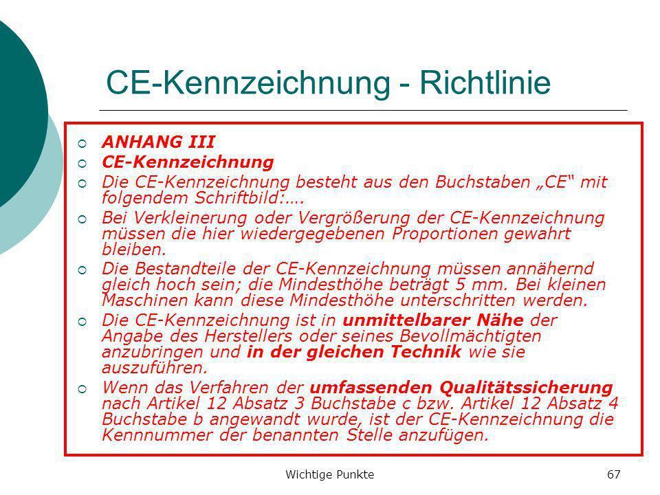 CE-Kennzeichnung - Richtlinie