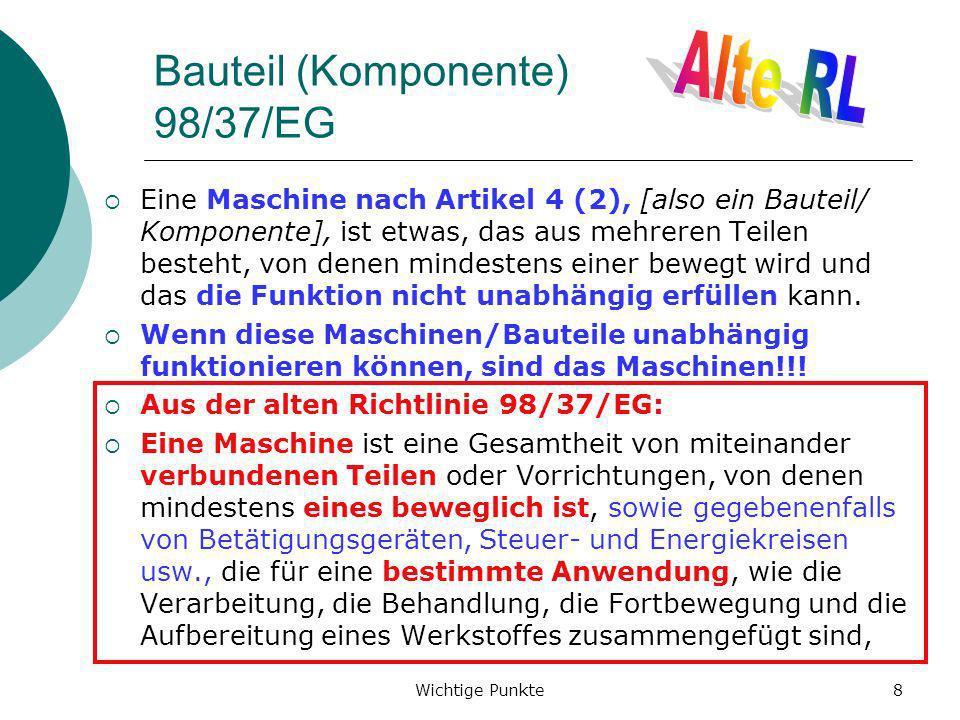 Bauteil (Komponente) 98/37/EG