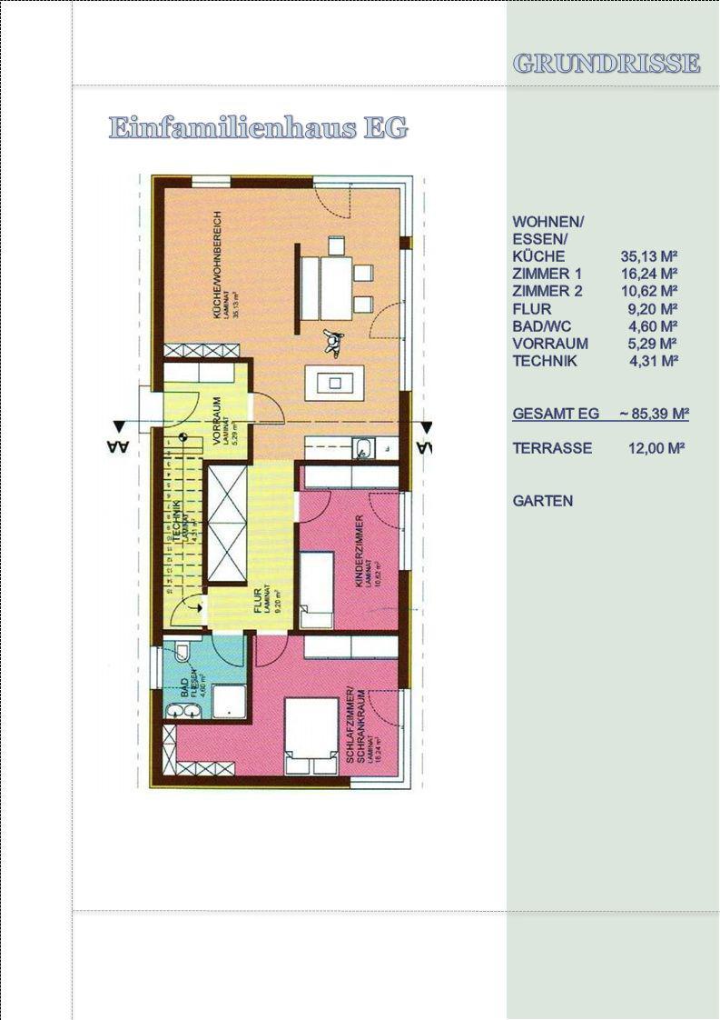 Einfamilienhaus EG GRUNDRISSE WOHNEN/ ESSEN/ KÜCHE 35,13 M²