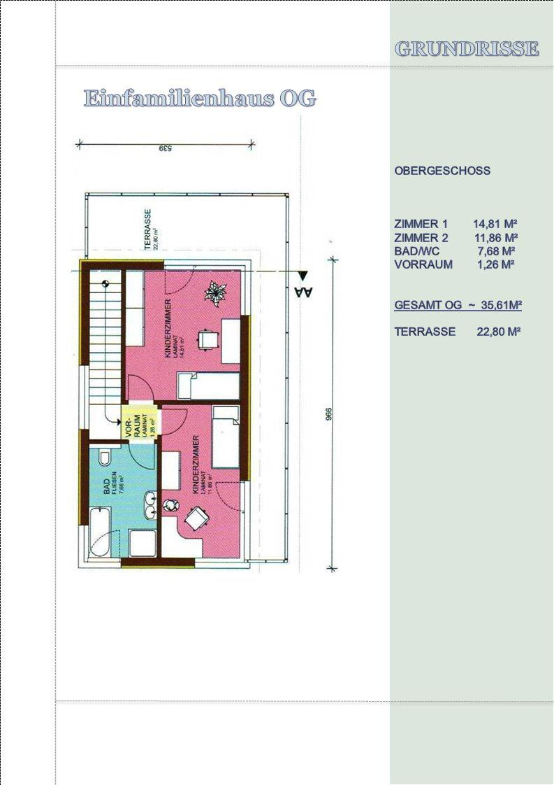 Einfamilienhaus OG GRUNDRISSE OBERGESCHOSS ZIMMER 1 14,81 M²