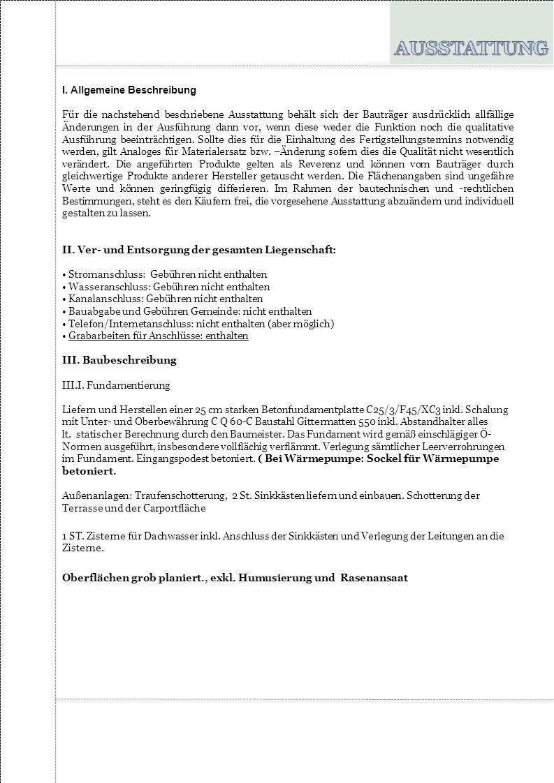 AUSSTATTUNG I. Allgemeine Beschreibung