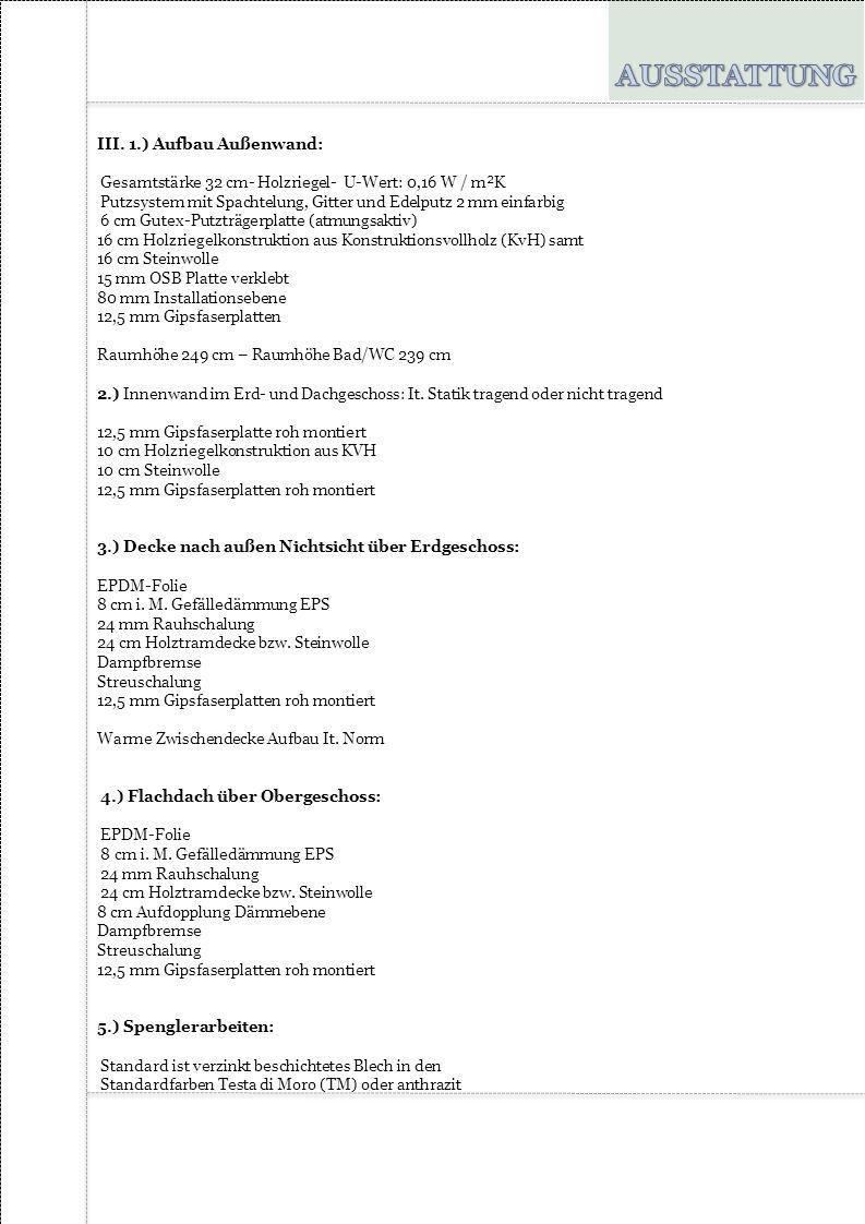 AUSSTATTUNG III. 1.) Aufbau Außenwand: