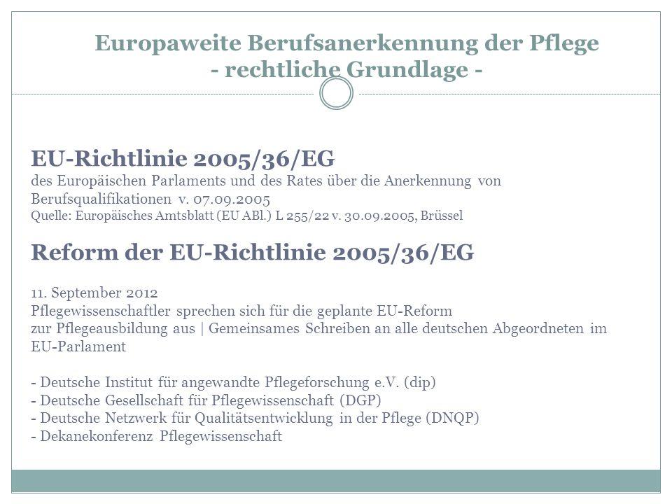 Europaweite Berufsanerkennung der Pflege - rechtliche Grundlage -