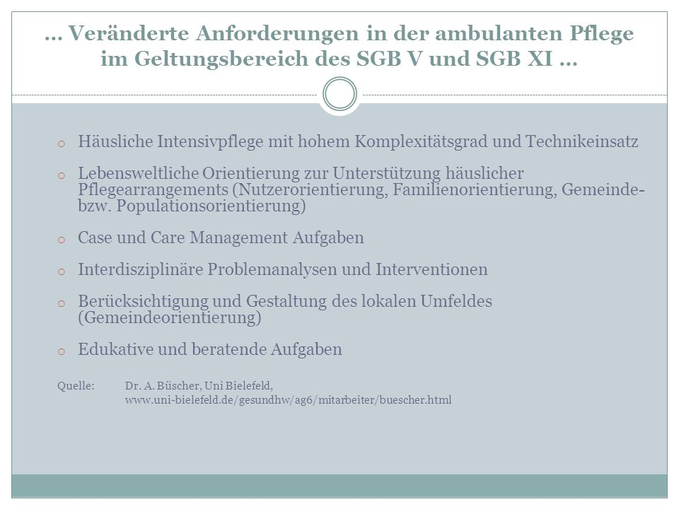 … Veränderte Anforderungen in der ambulanten Pflege im Geltungsbereich des SGB V und SGB XI …