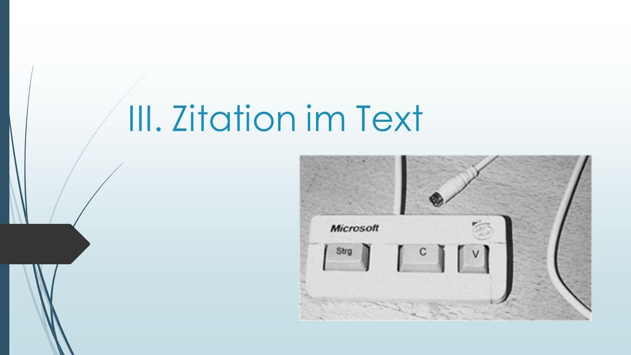 III. Zitation im Text