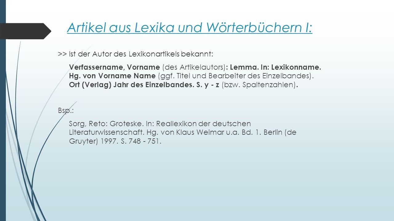 Artikel aus Lexika und Wörterbüchern I: