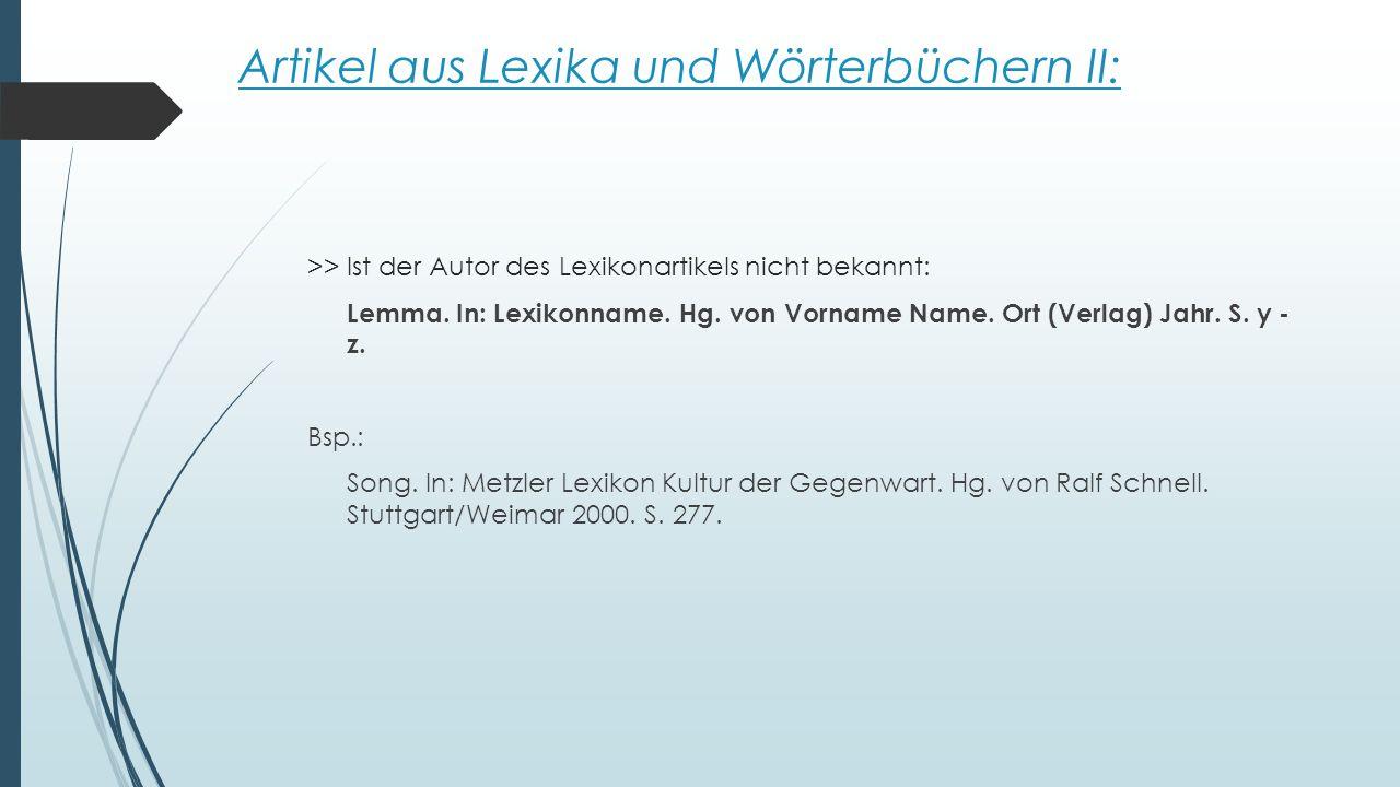 Artikel aus Lexika und Wörterbüchern II:
