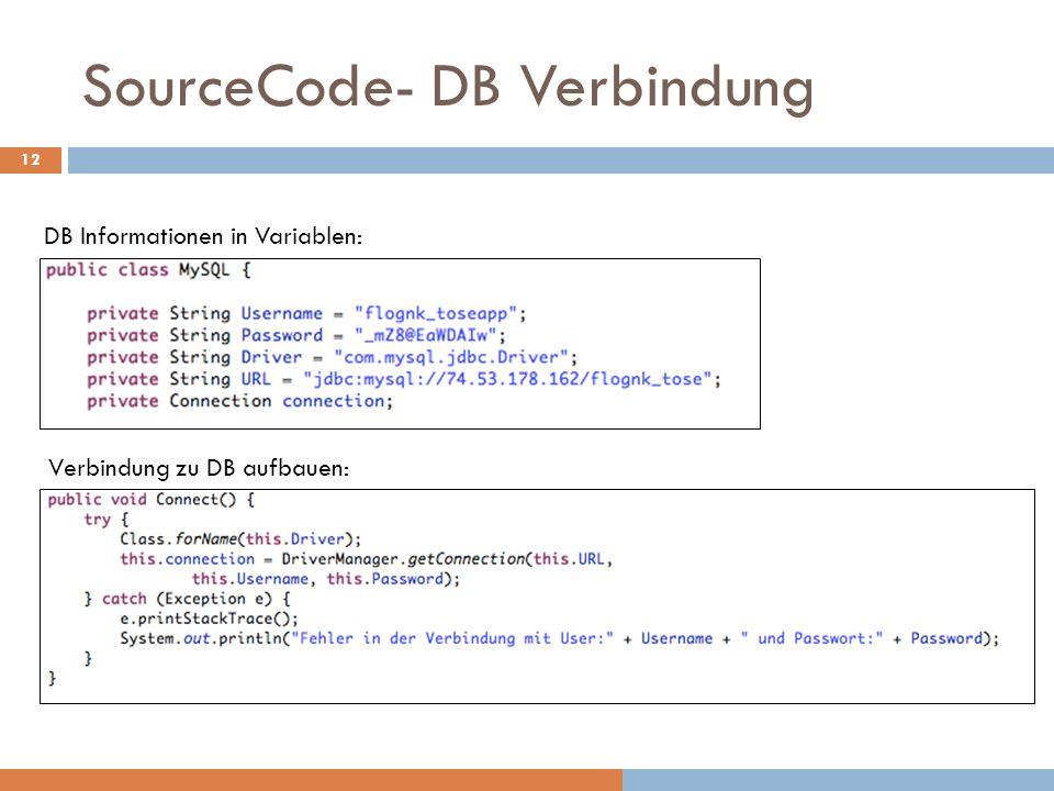 SourceCode- DB Verbindung