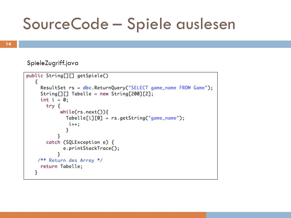 SourceCode – Spiele auslesen