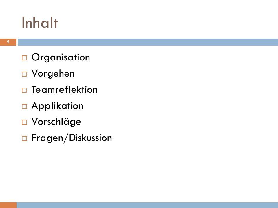 Inhalt Organisation Vorgehen Teamreflektion Applikation Vorschläge