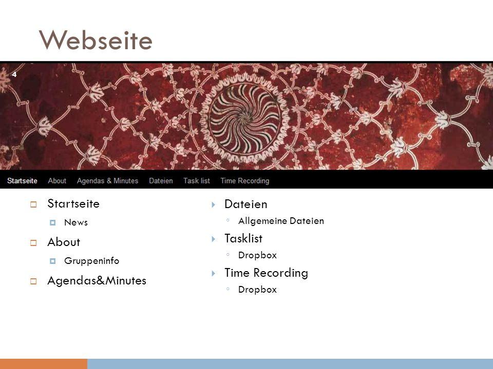 Webseite Startseite Dateien About Tasklist Time Recording