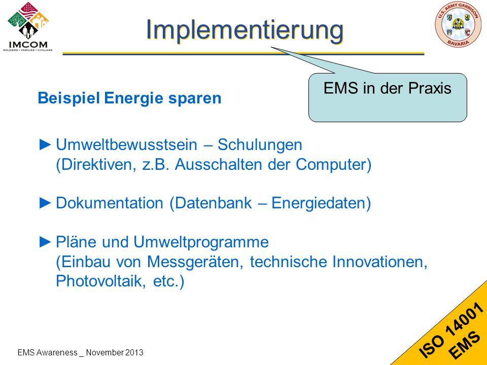 Implementierung EMS in der Praxis Beispiel Energie sparen