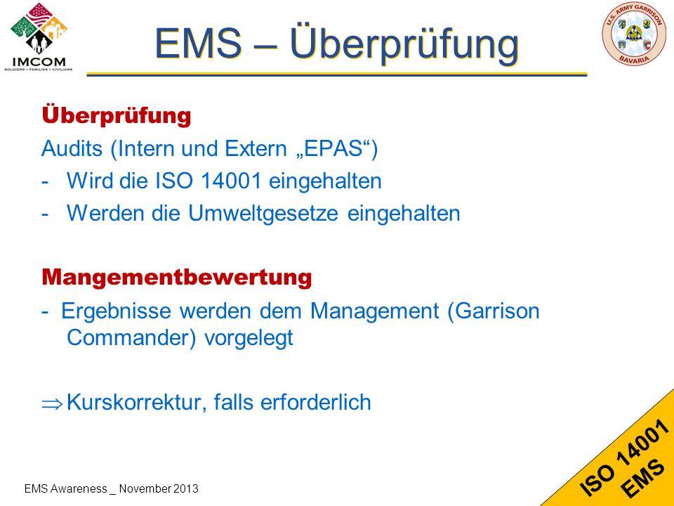 """EMS – Überprüfung Überprüfung Audits (Intern und Extern """"EPAS )"""