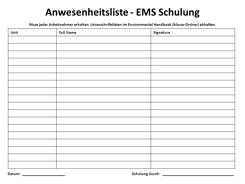 Anwesenheitsliste - EMS Schulung