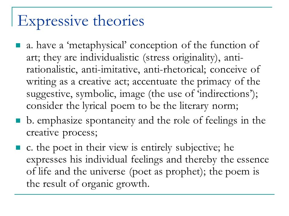 Expressive theories
