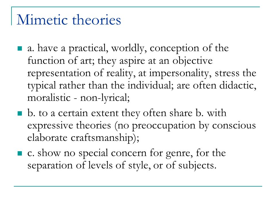 Mimetic theories