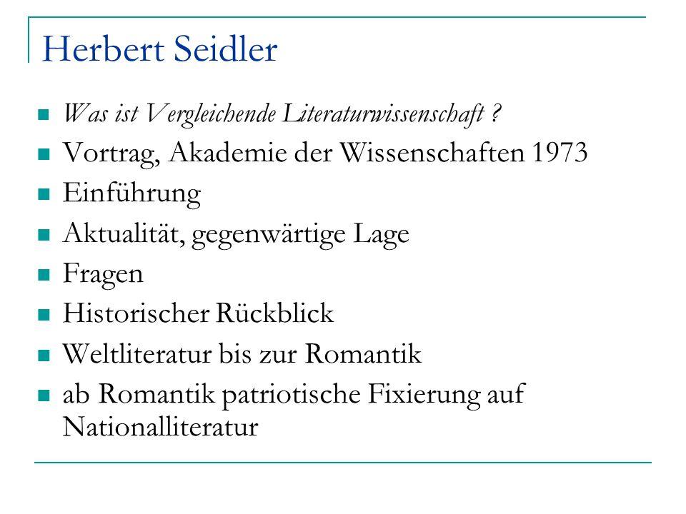 Herbert Seidler Vortrag, Akademie der Wissenschaften 1973 Einführung