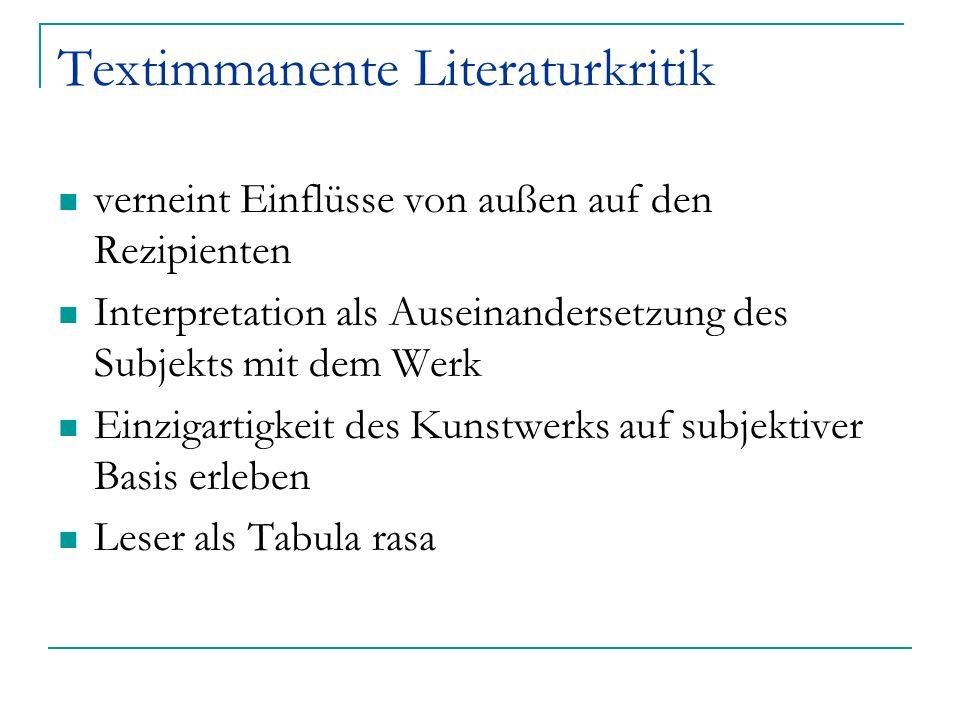 Textimmanente Literaturkritik