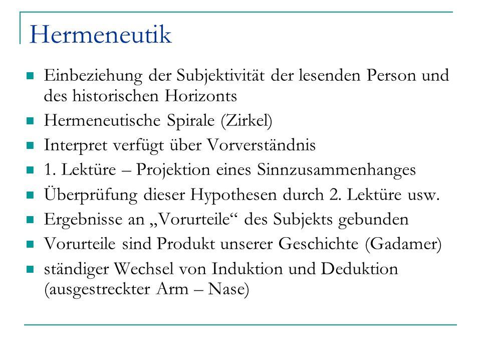 Hermeneutik Einbeziehung der Subjektivität der lesenden Person und des historischen Horizonts. Hermeneutische Spirale (Zirkel)