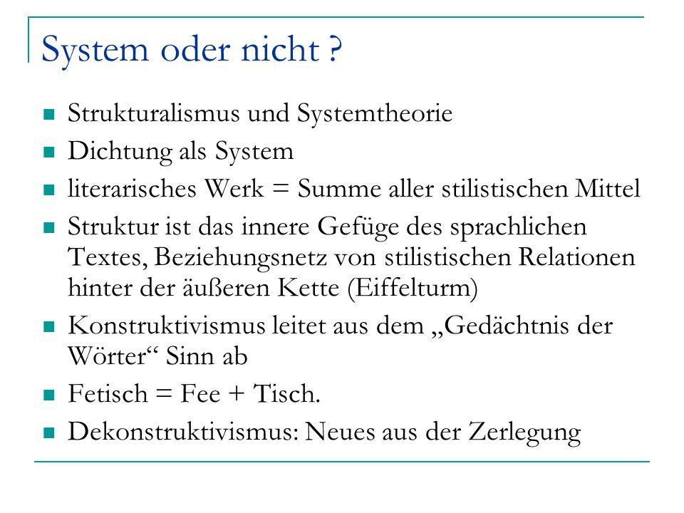System oder nicht Strukturalismus und Systemtheorie