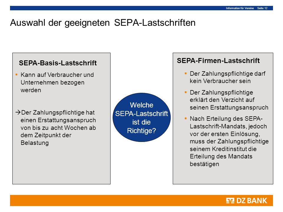Auswahl der geeigneten SEPA-Lastschriften