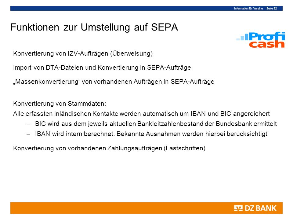 Funktionen zur Umstellung auf SEPA