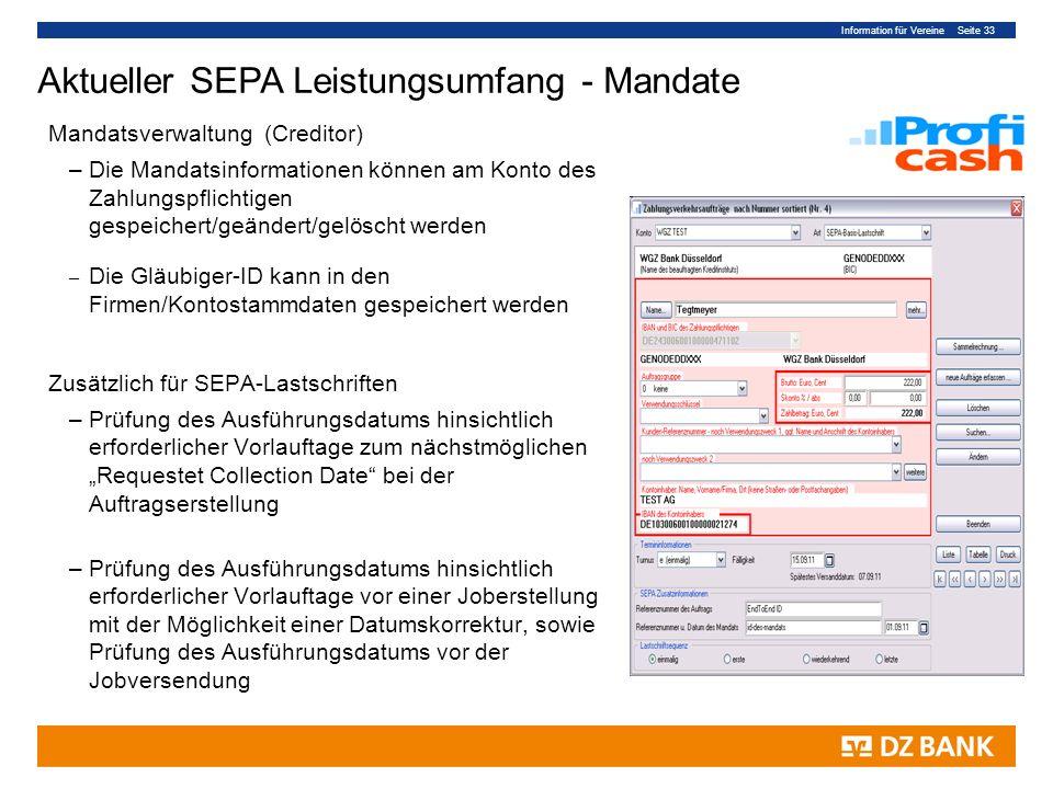 Aktueller SEPA Leistungsumfang - Mandate