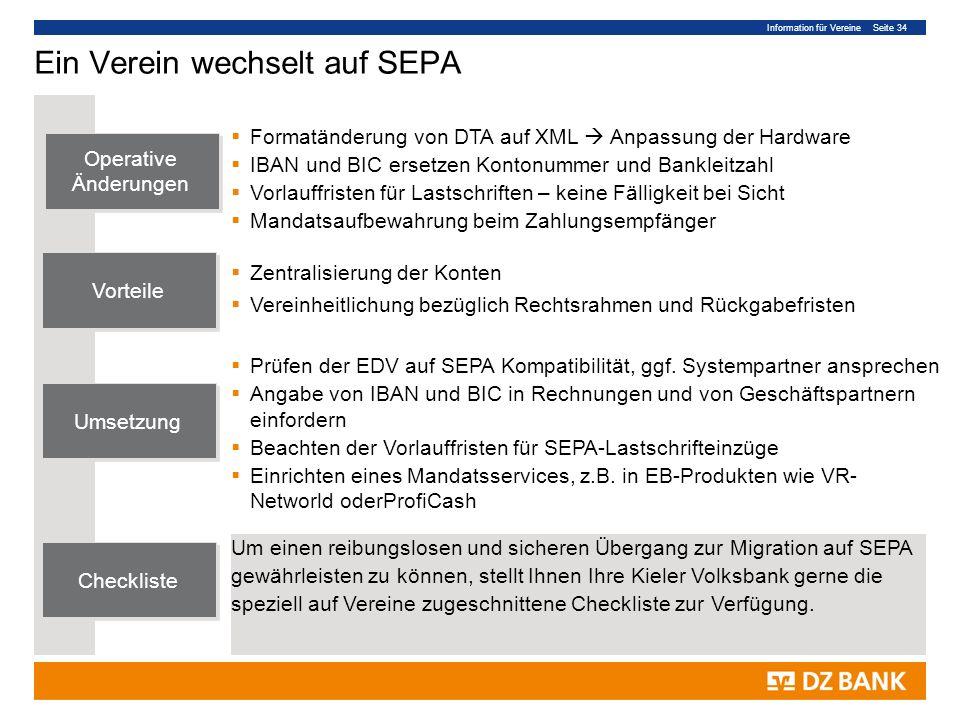 Ein Verein wechselt auf SEPA
