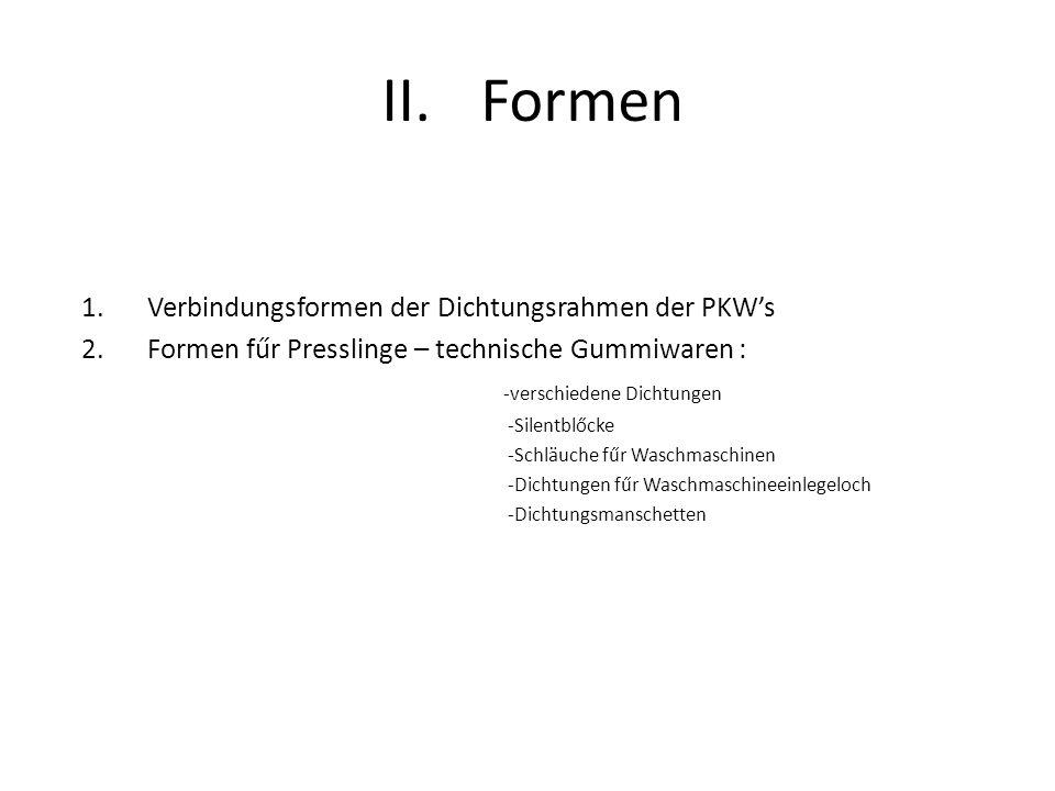 Formen Verbindungsformen der Dichtungsrahmen der PKW's