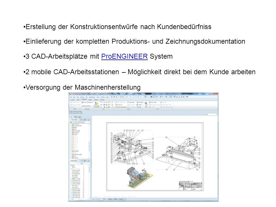 Erstellung der Konstruktionsentwűrfe nach Kundenbedűrfniss