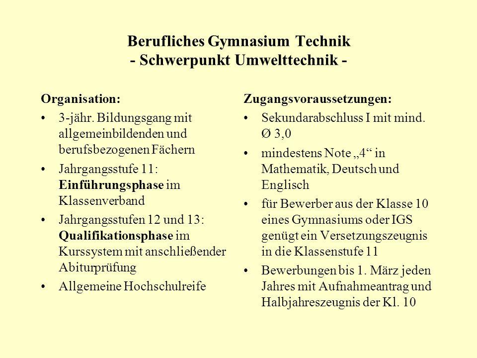 Berufliches Gymnasium Technik - Schwerpunkt Umwelttechnik -