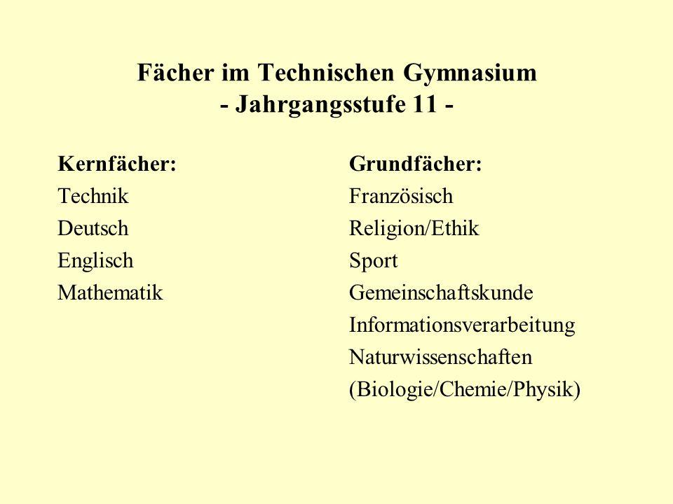 Fächer im Technischen Gymnasium - Jahrgangsstufe 11 -