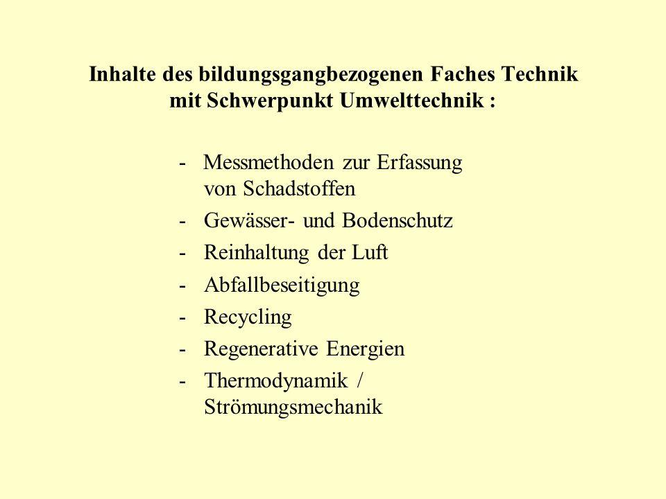 Inhalte des bildungsgangbezogenen Faches Technik mit Schwerpunkt Umwelttechnik :