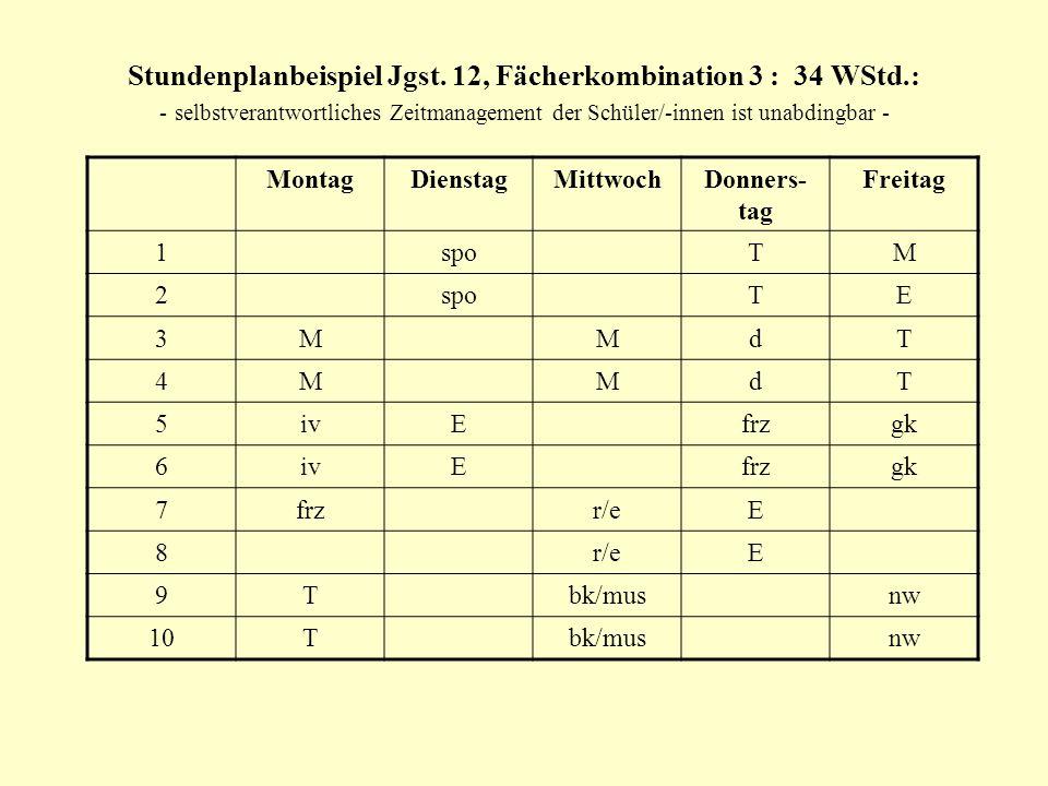 Stundenplanbeispiel Jgst. 12, Fächerkombination 3 : 34 WStd