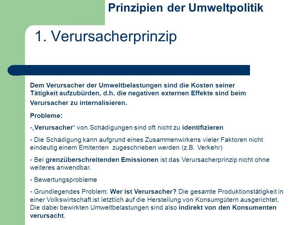 1. Verursacherprinzip Prinzipien der Umweltpolitik