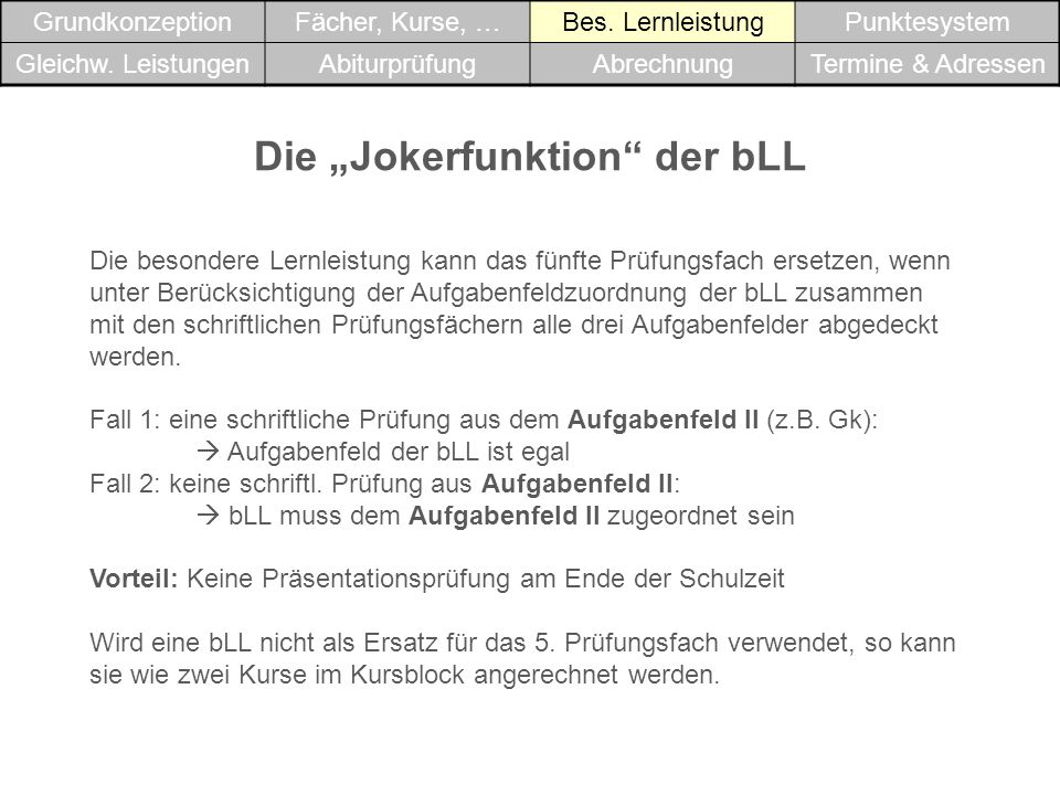"""Die """"Jokerfunktion der bLL"""
