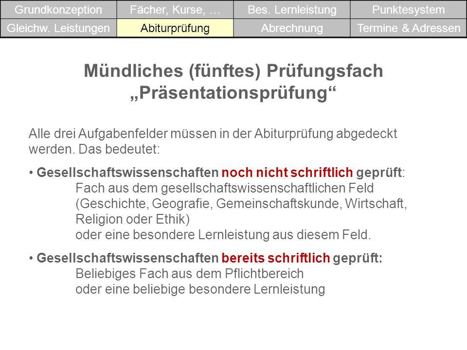 """Mündliches (fünftes) Prüfungsfach """"Präsentationsprüfung"""