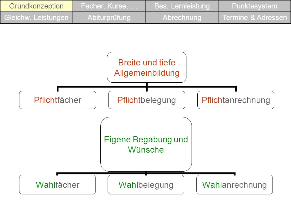 Grundkonzeption Fächer, Kurse, … Bes. Lernleistung. Punktesystem. Gleichw. Leistungen. Abiturprüfung.