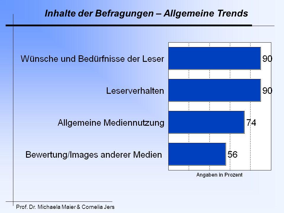 Inhalte der Befragungen – Allgemeine Trends