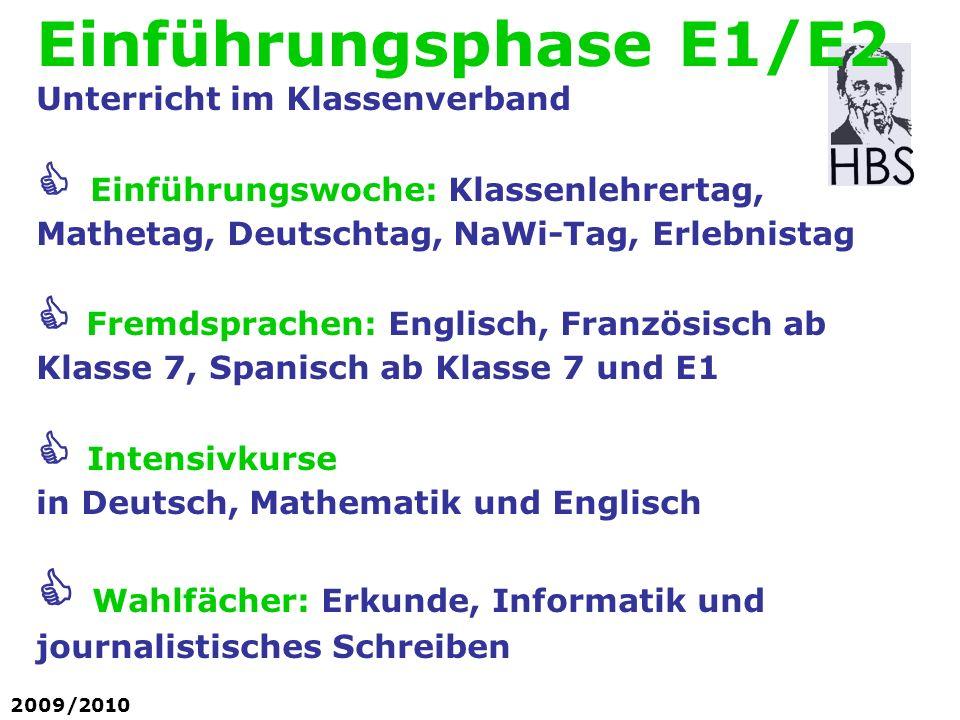 Einführungsphase E1/E2 Unterricht im Klassenverband