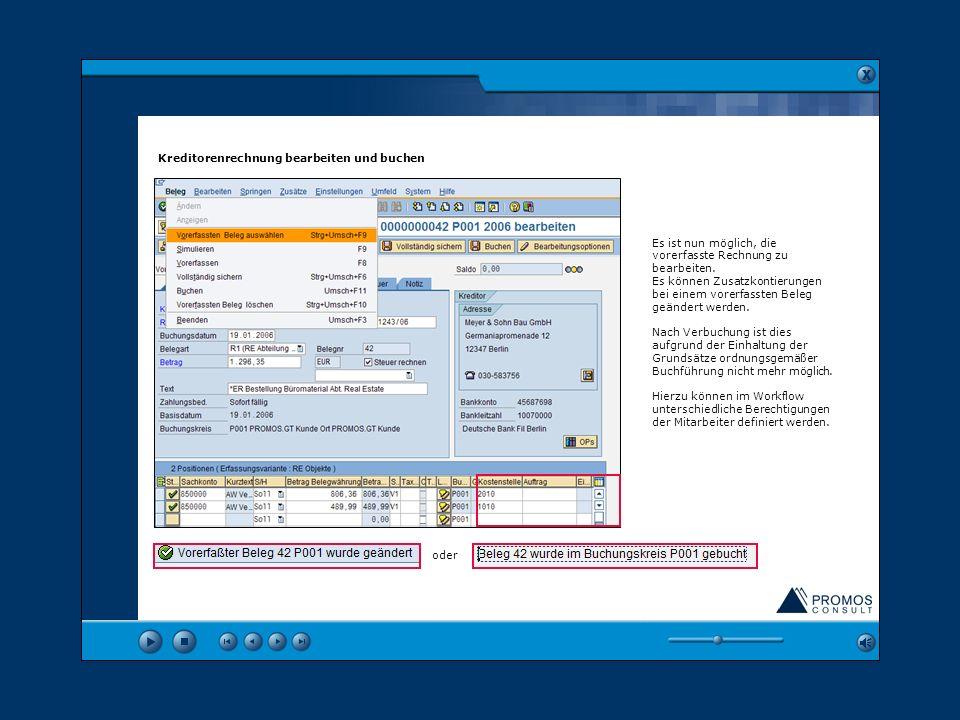 Kreditorenrechnung bearbeiten und buchen