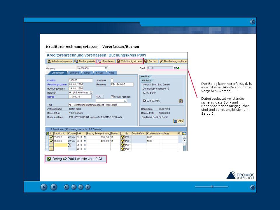 vcvcvc Kreditorenrechnung erfassen – Vorerfassen/Buchen
