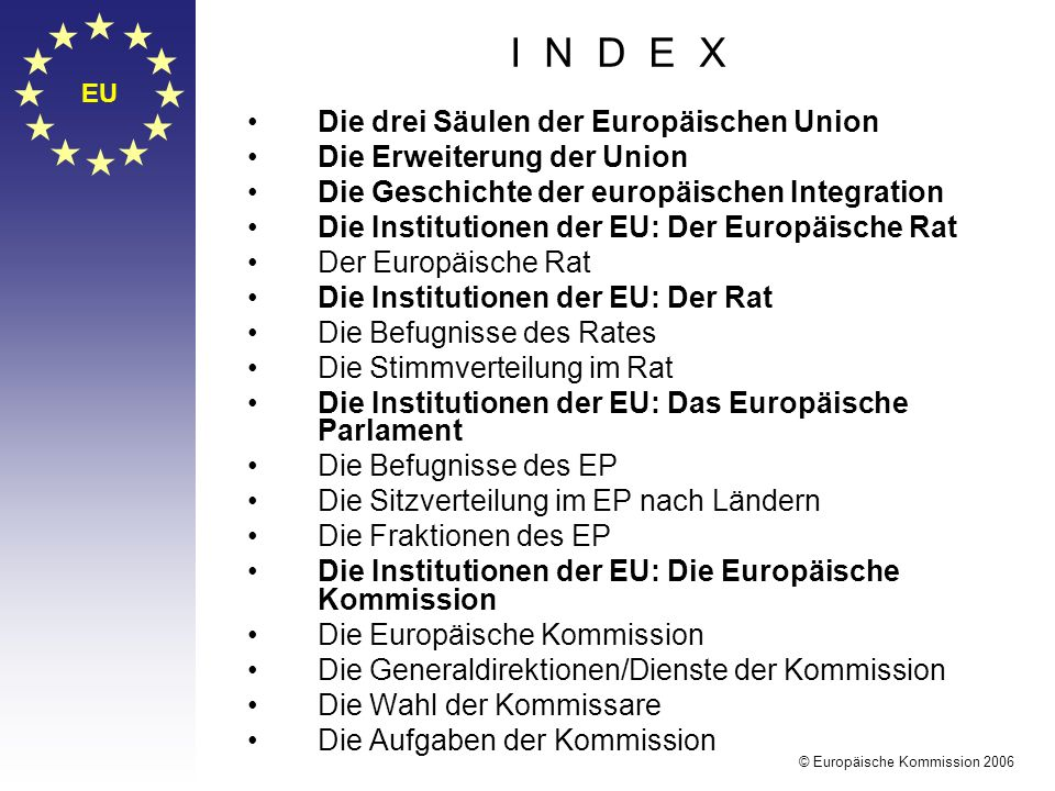I N D E X Die drei Säulen der Europäischen Union