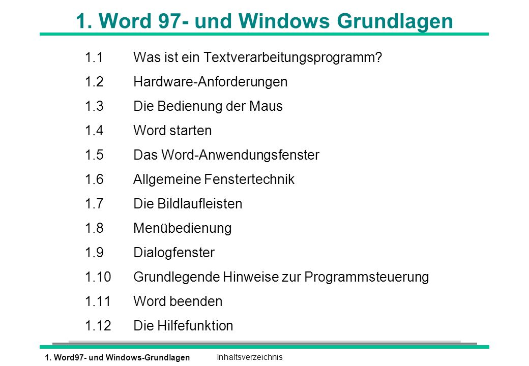 1. Word 97- und Windows Grundlagen
