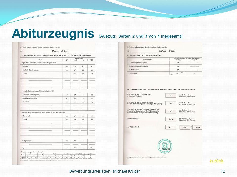 Abiturzeugnis (Auszug: Seiten 2 und 3 von 4 insgesamt)
